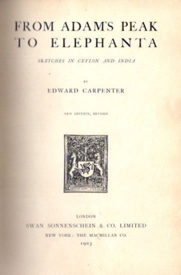 FROM ADAMS PEAK TO ELEPHANTA.; Sketches in Ceylon and India. Edward Carpenter.