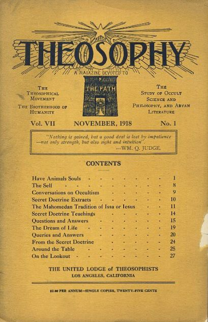 THEOSOPHY: VOL. VII; A Magazine Devoted to The Path. Westcott Clough.