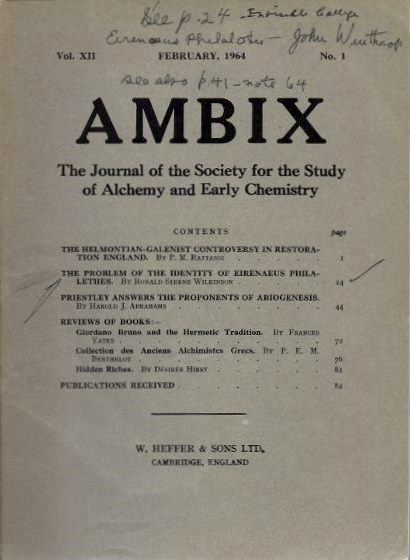 AMBIX, VOL. XII, NO. 1, FEBRUARY, 1964; The Journal of the Society for the Study of Alchemy and Early Chemistry. Harold J. Abrahams, P M. Rattansi, Ronald Sterne Wilkinson, Allen G. Debus, D. Geoghegon.