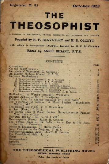 THE THEOSOPHIST: A MAGAZINE OF BROTHERHOOD, ORIENTAL PHILOSOPHY, ART, LITERATURE AND OCCULTISM, VOL. XLV, NO. 1. Annie Besant.
