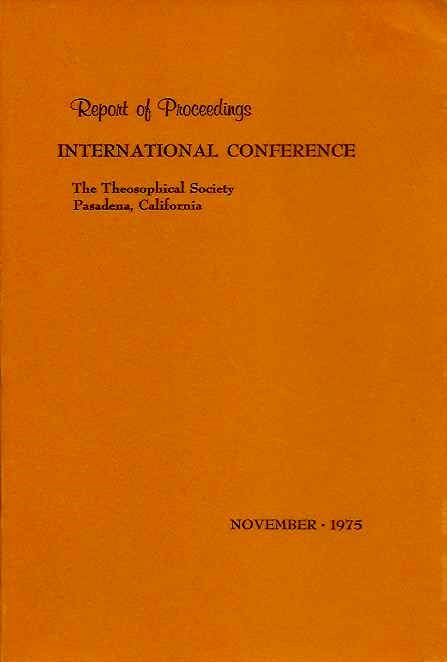 REPORT OF PROCEEDINGS: INTERNATIONAL CONFERENCE. Grace F. Knoche.