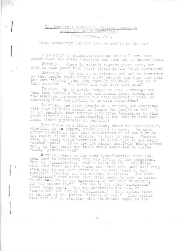 MR. BENNETT'S ANSWERS TO QUESTIONS ABOUT THE SUBUD EXPERIENCE; 26th October, 1957. J. G. Bennett.