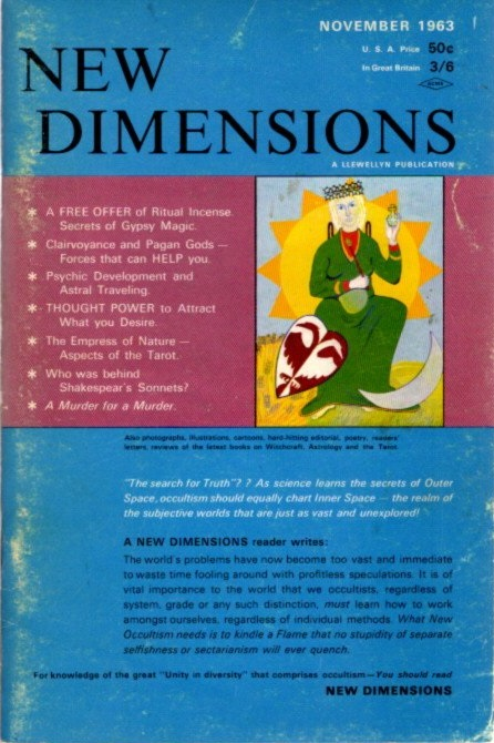 NEW DIMENSIONS: VOLUME I, NO  4, NOVEMBER 1963 by Basil Wilbey, pseud   Gareth Knight on By The Way Books