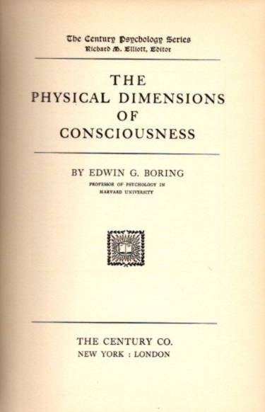 THE PHYSICAL DIMENSIONS OF CONSCIOUSNESS. Edward G. Boring.