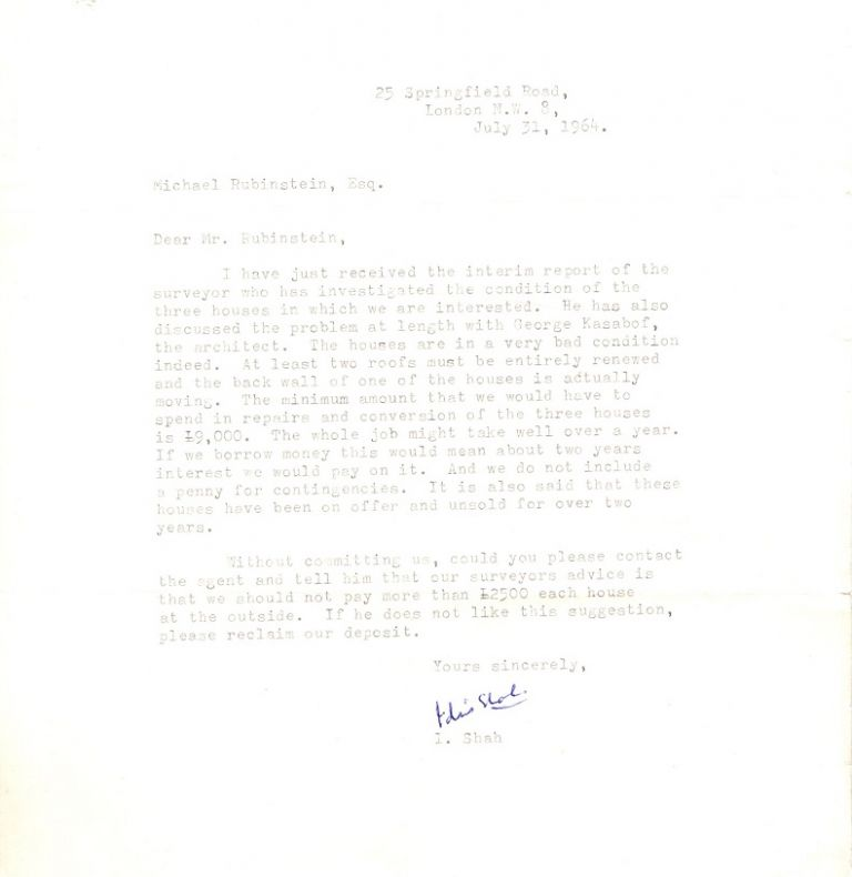 TYPED LETTER SIGNED. Idries Shah.