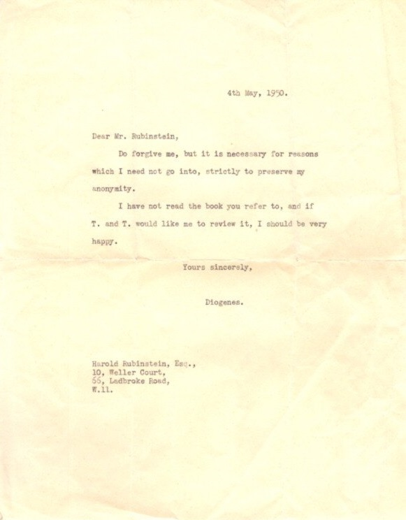 TYPED LETTER. Diogenes.