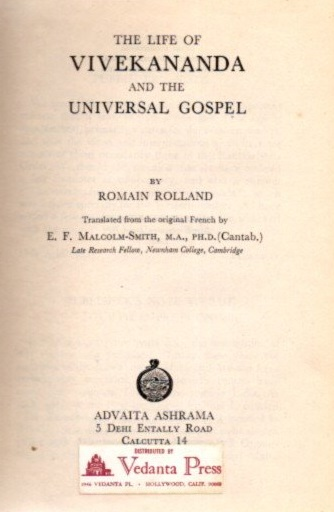 THE LIFE OF RAMAKRISHNA AND TEH UNIVERSAL GOSPEL. Romain Rolland.