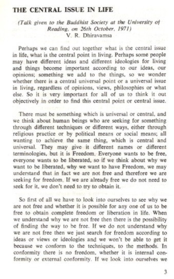 THE CENTRAL ISSUE IN LIFE. V. R. Dhiravamsa.