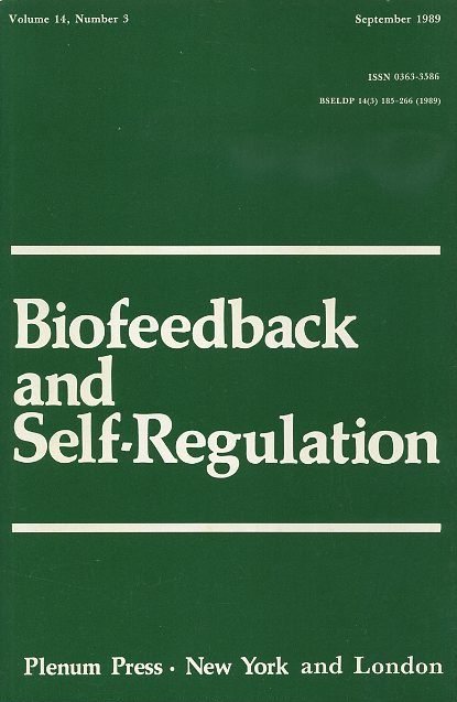BIOFEEDBACK AND SELF-REGULATION: VOLUME 14, NUMBER 3, SEPTEMBER 1989. Francine Butler, Mary R. Cook.