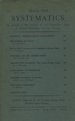 SYSTEMATICS: VOL. 1, NO. 4; MARCH 1964.; The Journal of the Institute for the Comparative Study...