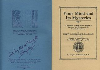 YOUR MIND AND ITS MYSTERIES. Edwin J. Dingle