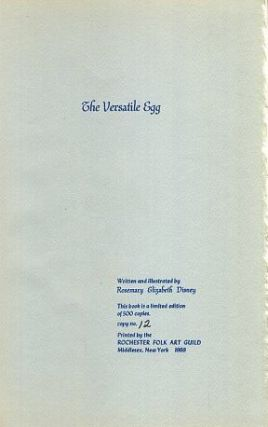 THE VERSATILE EGG. Rosemary Elizabeth Disney