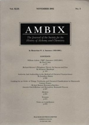 AMBIX: VOLUME XLVIX, NO. 3, NOVEMBER 2002. Noel Coley, Seymour Mauskopf, Jonathan Simon,...
