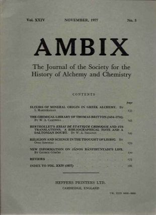 AMBIX, VOL. XXIV; The Journal of the Society for the Study of Alchemy and Early Chemistry