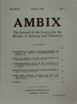 AMBIX, VOL. XXVII; The Journal of the Society for the Study of Alchemy and Early Chemistry....