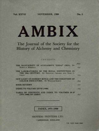 AMBIX, VOL. XXVII; The Journal of the Society for the Study of Alchemy and Early Chemistry