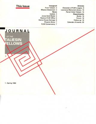 JOURNAL OF THE TALIESIN FELLOWS: 1, SPRING 1990.