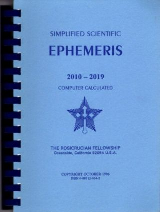 SIMPLIFIED SCIENTIFIC EPHEMERIS 2010-2019; Computer Calculated