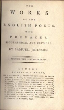 THE WORKS OF THE ENGLISH POETS; Volume 67 containing Churchill and Fulcaner. Samuel Johnson