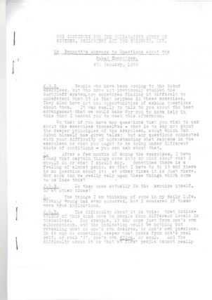 MR. BENNETT'S ANSWERS TO QUESTIONS ABOUT THE SUBUD EXPERIENCE; 4th January, 1958. J. G. Bennett