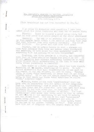 MR. BENNETT'S ANSWERS TO QUESTIONS ABOUT THE SUBUD EXPERIENCE; 26th October, 1957. J. G. Bennett