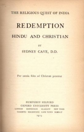 REDEMPTION; Hindu and Christian. Sydney Cave