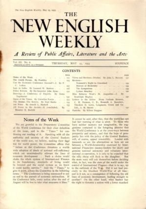 THE NEW ENGLISH WEEKLY. VOL. III, NO. 6. MAY 25, 1933. Gorham Munson, Llewelyn Powys, Paul Banks,...