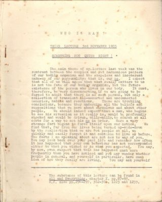 WHO IS MAN?; Six Lectures by J.G. Bennett given at Conway Hall London W.C.2.
