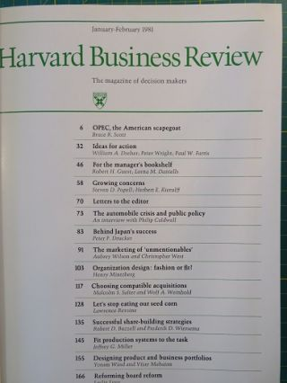 HARVARD BUSINESS REVIEW: VOLUME LIX, 1981: The Magazine of Decision Makers