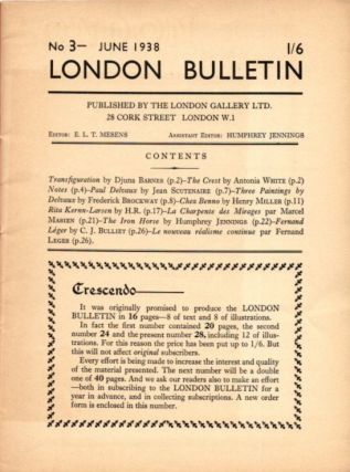 LONDON BUTTETIN NO 3, JUNE 1938.