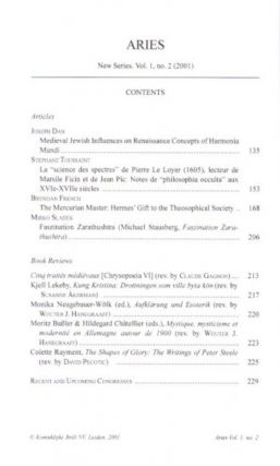 ARIES: JOURNAL FOR THE STUDY OF WESTERN ESOTERICISM: Volume 1, Number 2