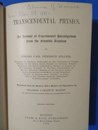 TRANSCENDENTAL PHYSICS: An Account of Experimental Investigations from the Scientific Treatises