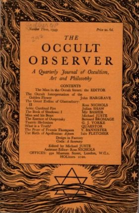 THE OCCULT OBSERVER: VOLUME ONE, NUMBER THREE: A Quarterly Journal of Occultism, Art and...