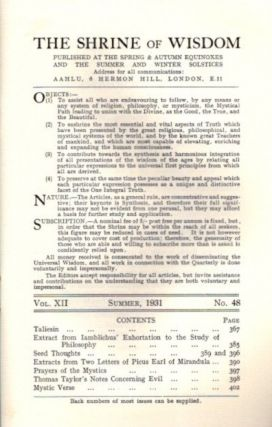 THE SHRINE OF WISDOM: NO. 48, SUMMER 1931: A Quarterly Devoted to Synthetic Philosophy, Religion & Mysticism