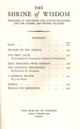 THE SHRINE OF WISDOM: NO. 60, SUMMER 1934: A Quarterly Devoted to Synthetic Philosophy, Religion & Mysticism