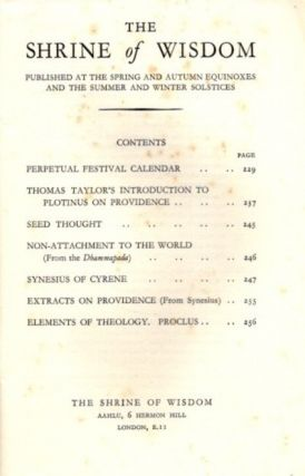 THE SHRINE OF WISDOM: NO. 81, AUTUMN 1939: A Quarterly Devoted to Synthetic Philosophy, Religion & Mysticism