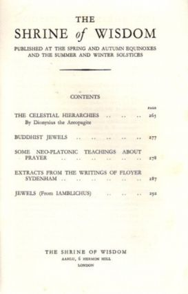 THE SHRINE OF WISDOM: NO. 58, WINTER 1933: A Quarterly Devoted to Synthetic Philosophy, Religion & Mysticism