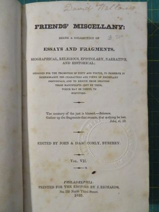 FRIENDS' MISCELLANY: VOLUME II.; Being a Collection of Essays and Fragments, Biographical, Religious, Epistolary, Narrative, and Historical