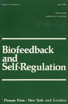 BIOFEEDBACK AND SELF-REGULATION: VOLUME 13, NUMBER 2, JUNE 1988. Francine Butler, Mary R. Cook